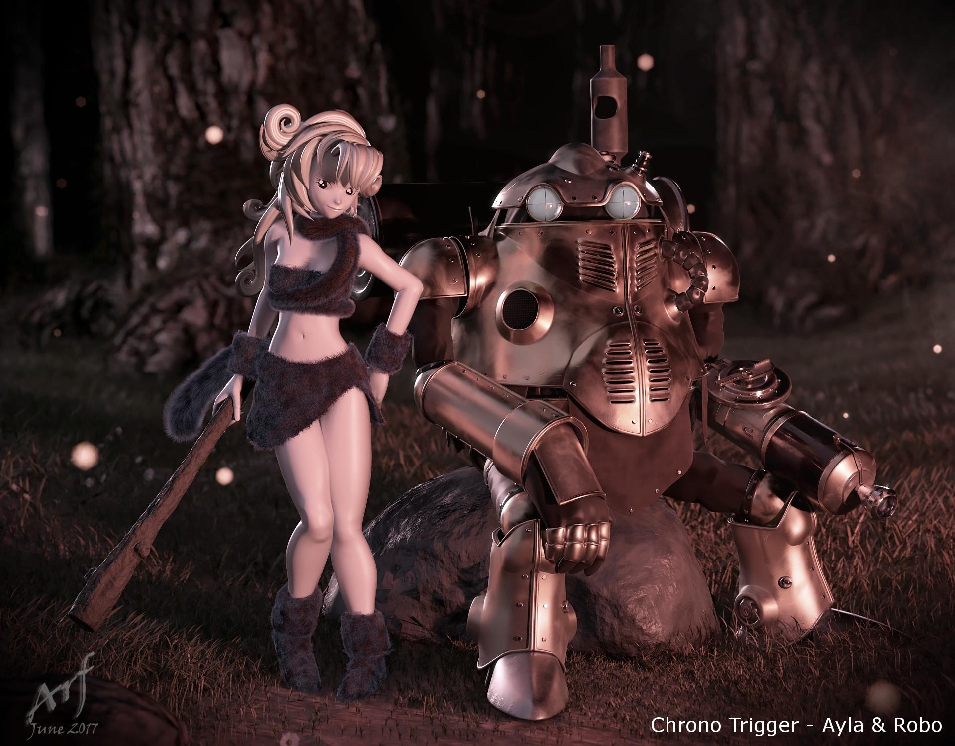 Ayla and Robo 3d art