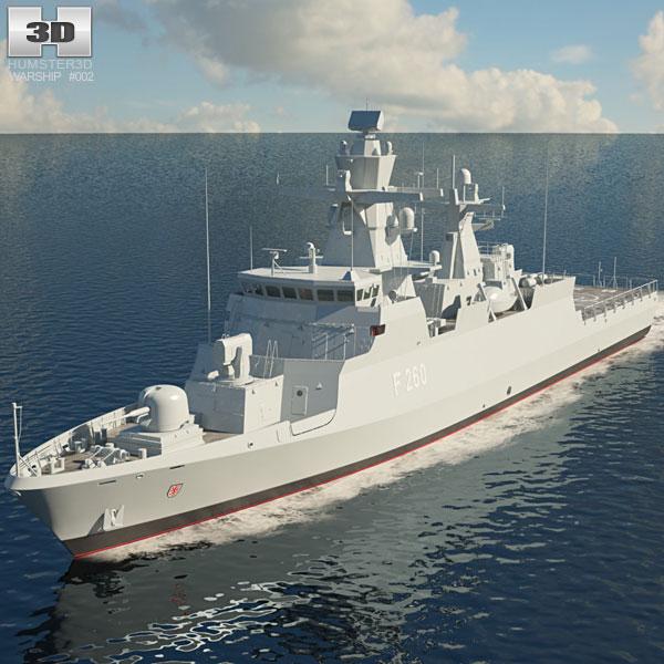 3D model of Braunschweig-class corvette