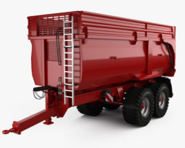 3D model of Krampe Big Body 650 Carrier Farm Trailer 2017