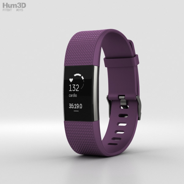 3D model of Fitbit Charge 2 Plum