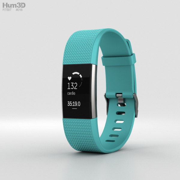 3D model of Fitbit Charge 2 Teal