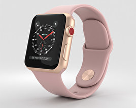 3D model of Apple Watch Series 3 38mm GPS + Cellular Gold Aluminum Case Pink Sand Sport Band