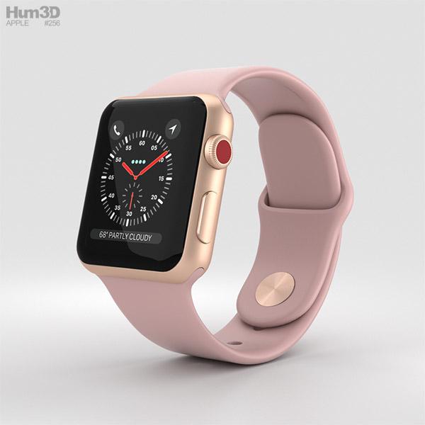 Apple Watch Series 3 38mm GPS + Cellular Gold Aluminum Case Pink Sand Sport Band 3D model