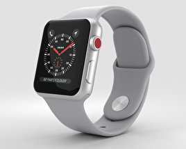 3D model of Apple Watch Series 3 38mm GPS + Cellular Silver Aluminum Case Fog Sport Band