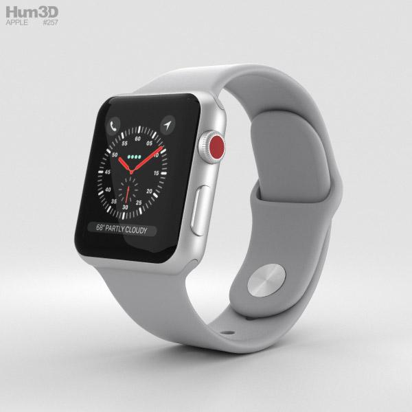 Apple Watch Series 3 38mm GPS + Cellular Silver Aluminum Case Fog Sport Band 3D model
