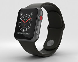 3D model of Apple Watch Series 3 38mm GPS + Cellular Space Gray Aluminum Case Black Sport Band