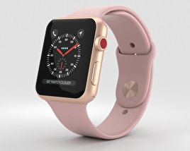 3D model of Apple Watch Series 3 42mm GPS + Cellular Gold Aluminum Case Pink Sand Sport Band