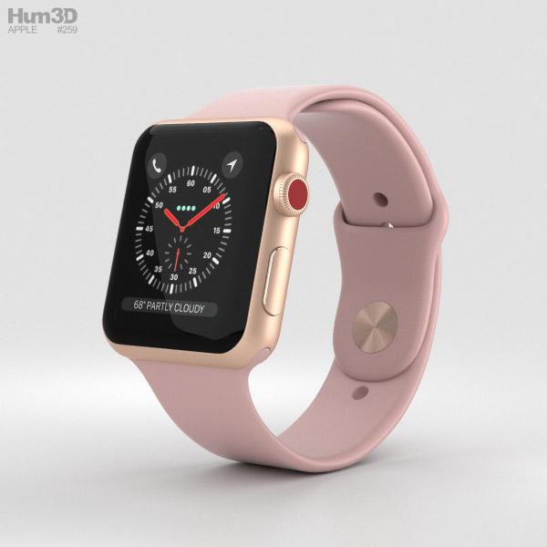 Apple Watch Series 3 42mm GPS + Cellular Gold Aluminum Case Pink Sand Sport Band 3D model