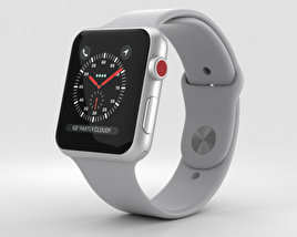3D model of Apple Watch Series 3 42mm GPS + Cellular Silver Aluminum Case Fog Sport Band