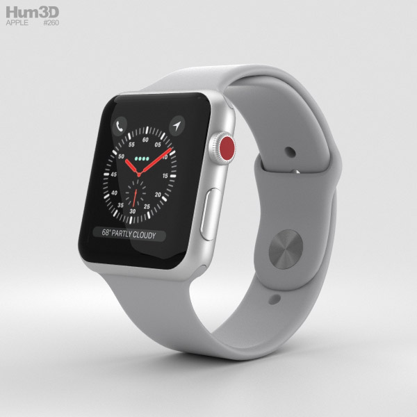 Apple Watch Series 3 42mm GPS + Cellular Silver Aluminum Case Fog Sport Band 3D model