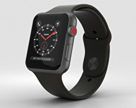 3D model of Apple Watch Series 3 42mm GPS + Cellular Space Gray Aluminum Case Black Sport Band