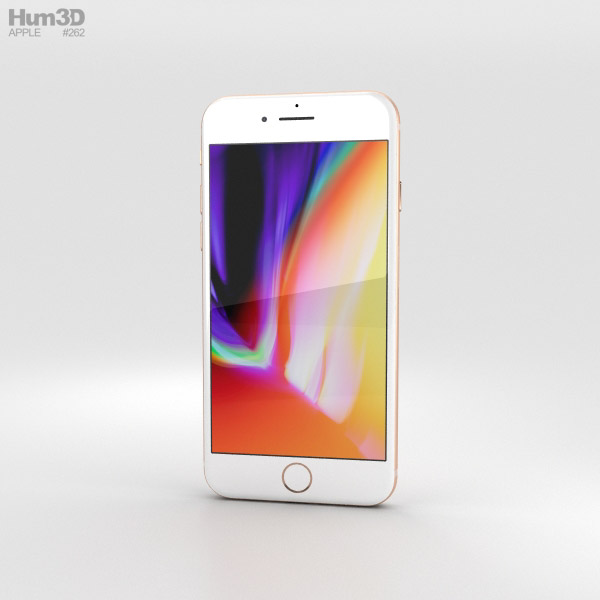 3D model of Apple iPhone 8 Gold