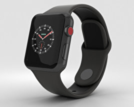 3D model of Apple Watch Edition Series 3 38mm GPS Gray Ceramic Case Gray/Black Sport Band