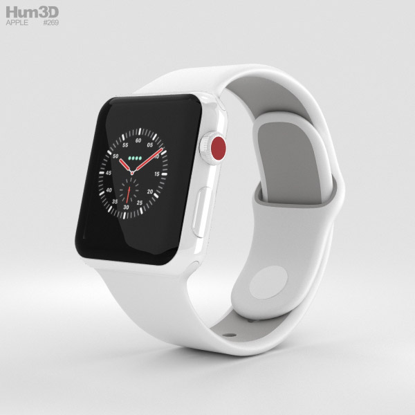 Apple Watch Edition Series 3 38mm GPS White Ceramic Case Soft White/Pebble Sport Band 3D model