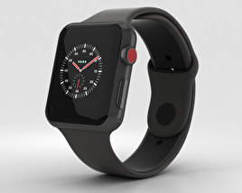 Apple Watch Edition Series 3 42mm GPS Gray Ceramic Case Gray/Black Sport Band 3D model