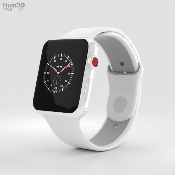 Apple Watch Edition Series 3 42mm GPS White Ceramic Case Soft White/Pebble Sport Band 3D model