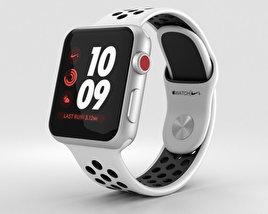3D model of Apple Watch Series 3 Nike+ 38mm GPS Silver Aluminum Case Pure Platinum/Black Sport Band