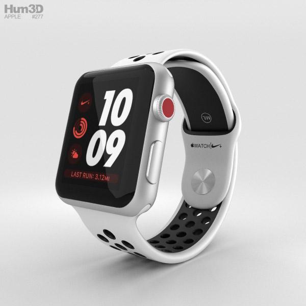 Apple Watch Series 3 Nike+ 42mm GPS Silver Aluminum Case Pure Platinum/Black Sport Band 3D model