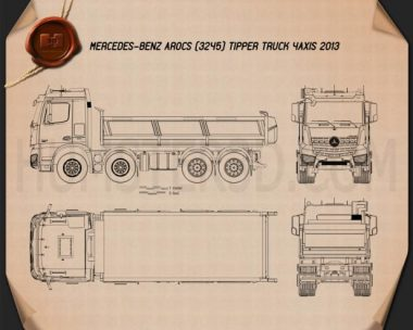 Mercedes-Benz Arocs Tipper Truck 2013 Blueprint