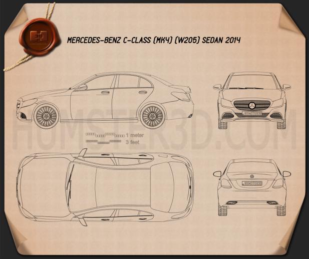 Mercedes-Benz C-class (W205) sedan 2014 Blueprint