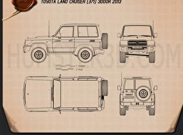 Toyota Land Cruiser (J71) 3-door 2013 Blueprint