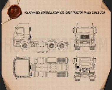 Volkswagen Constellation (25-390) Tractor Truck 3-axle 2011 Blueprint