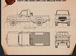 Toyota Land Cruiser (J79) Single Cab 2007 Blueprint