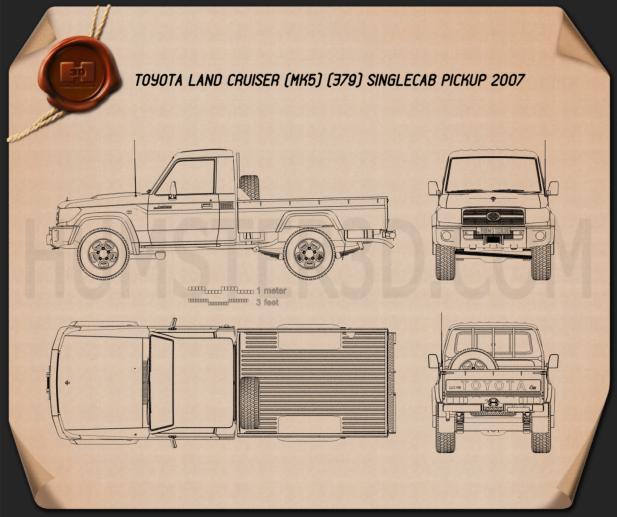 Toyota Land Cruiser (J79) Single Cab 2007 Blueprint