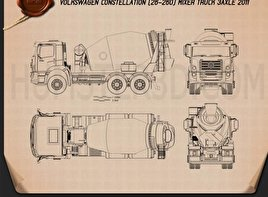 Volkswagen Constellation (26-260) Mixer Truck 3-axle 2011 Blueprint