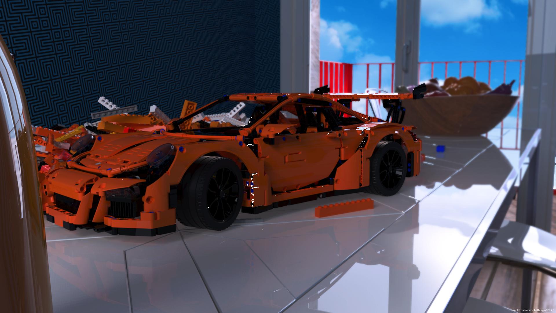 Porsche 911 GT3 RS lego race car 3d art