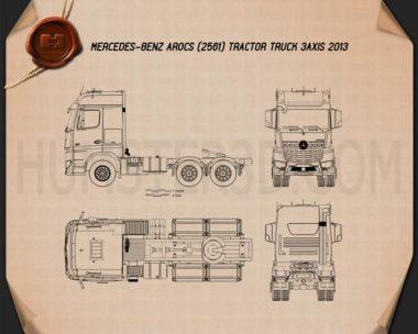 Mercedes-Benz Arocs Tractor Truck 2013 Blueprint