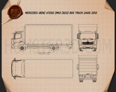 Mercedes-Benz Atego Box Truck 2013 Blueprint