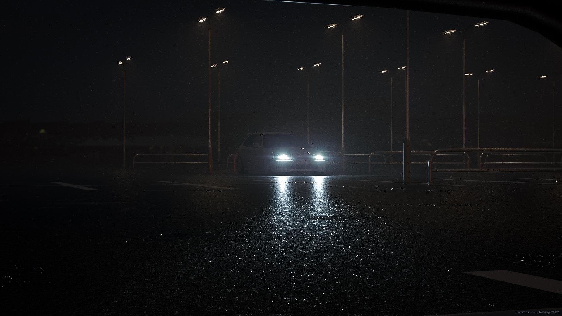 A rainy night 3d art
