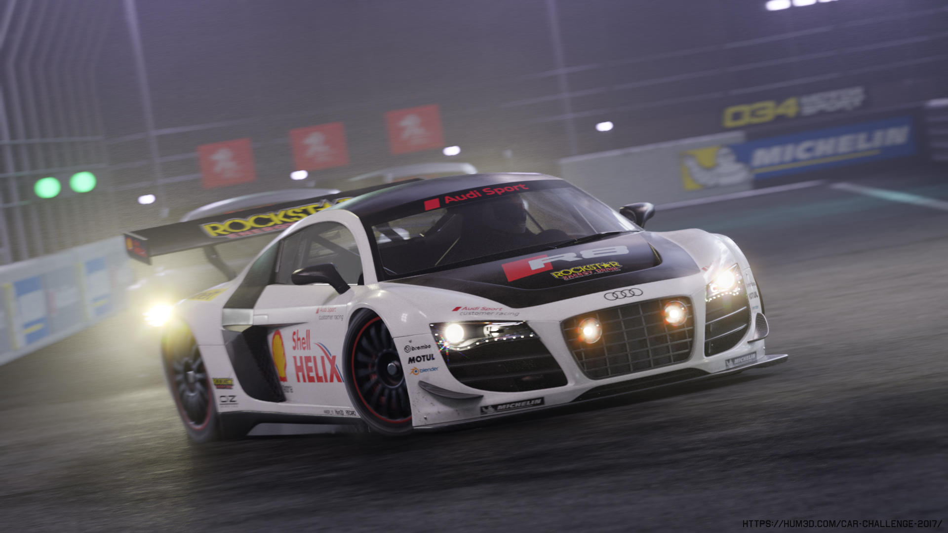 Audi R8 LMS night Race 3d art