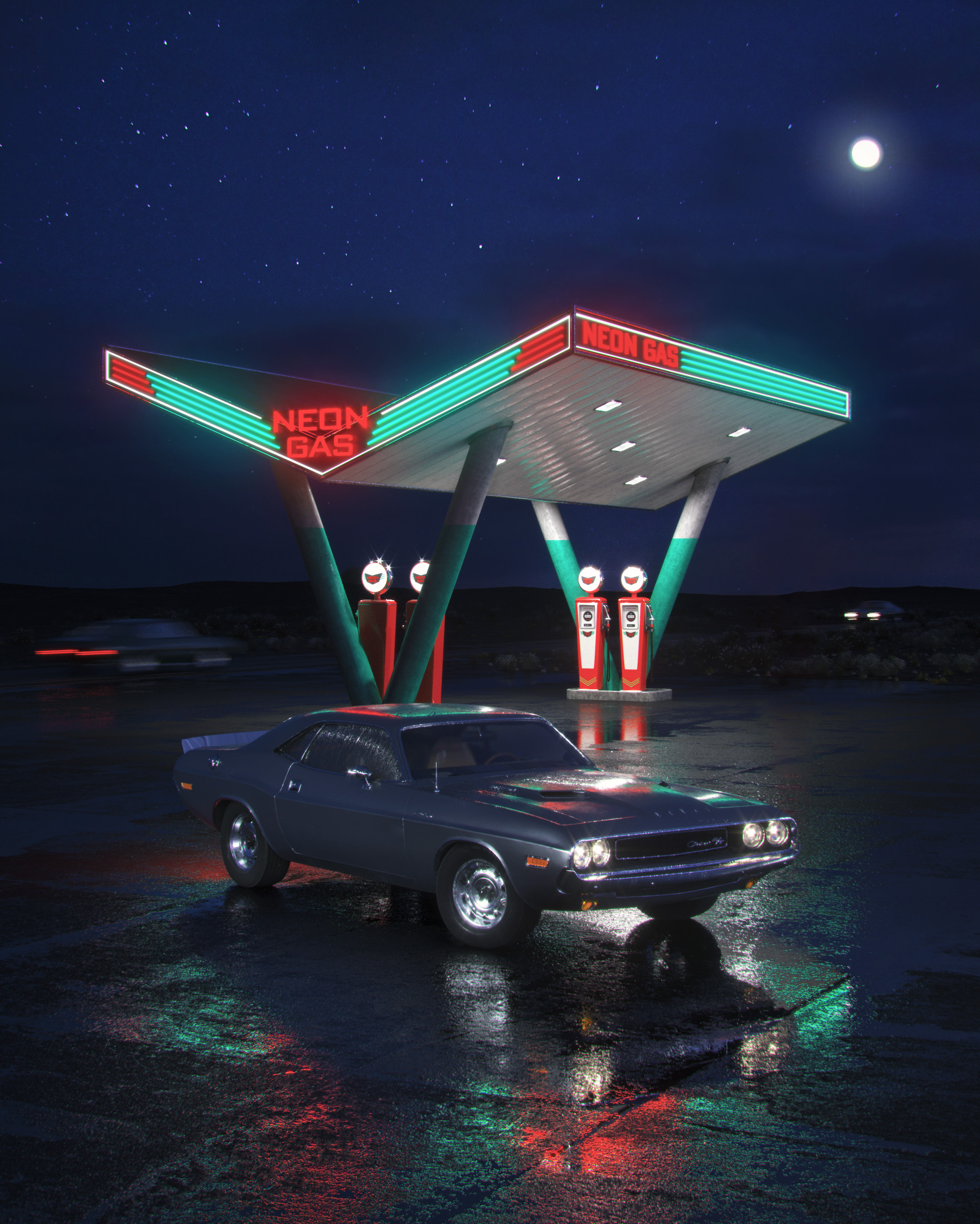 Neon Gas Station 3d art