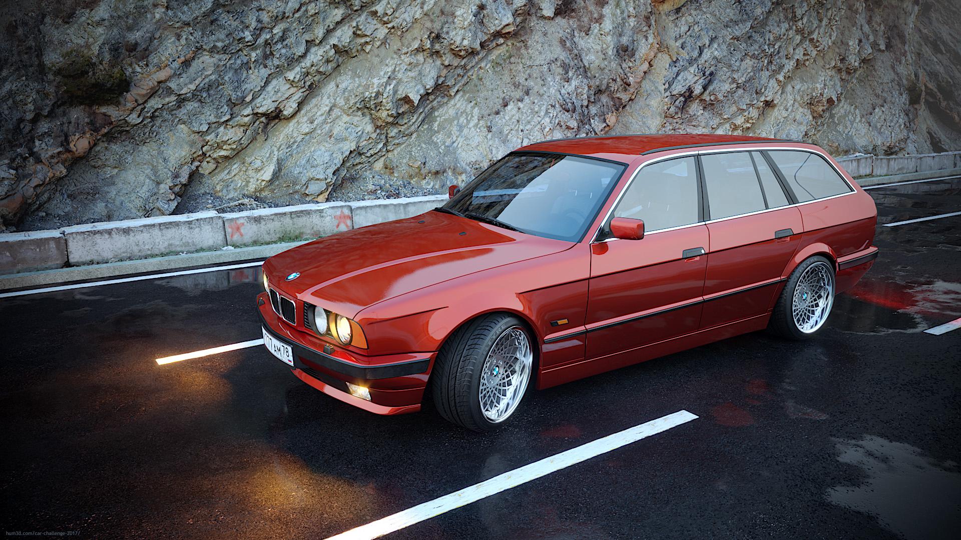 BMW E34 Touring 3d art