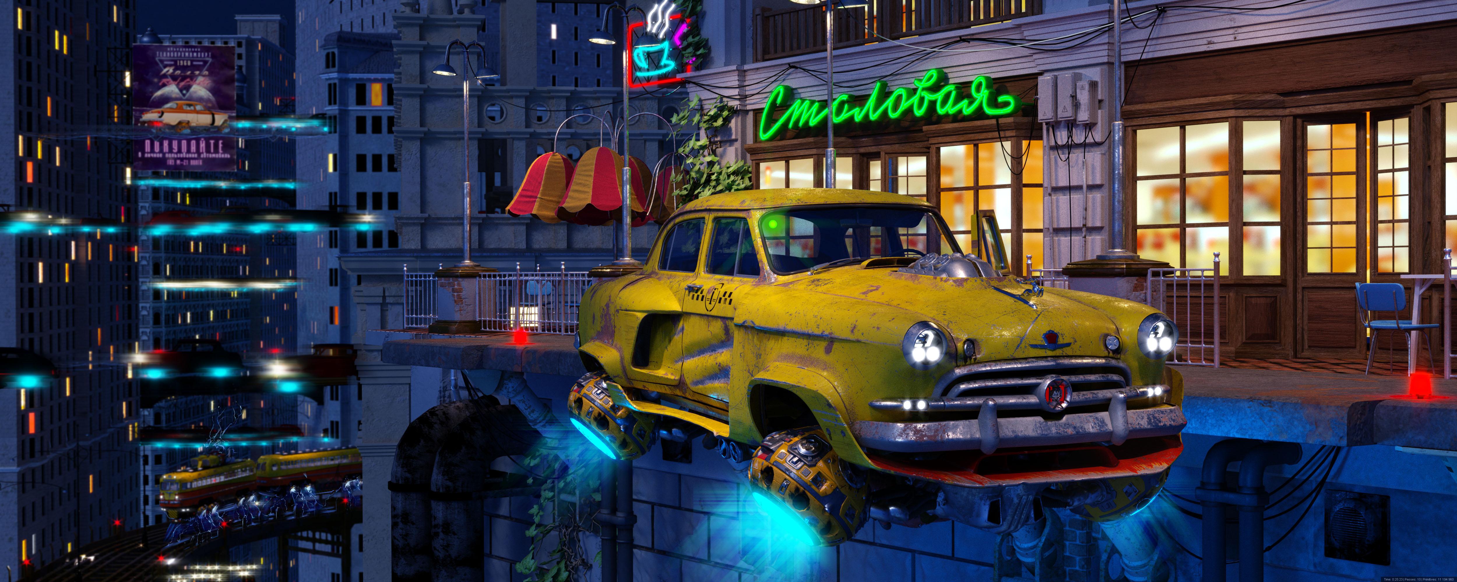 Green-eyed taxi 3d art