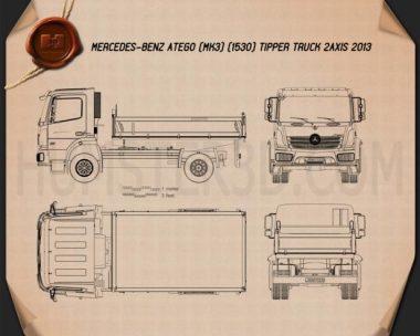 Mercedes-Benz Atego Tipper Truck 2013 Blueprint