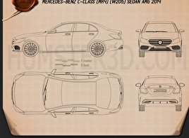 Mercedes-Benz C-Class AMG Line (W205) sedan 2014 Blueprint