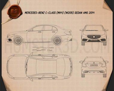 Mercedes-Benz C-Class AMG Line (W205) sedan 2014 Blueprint
