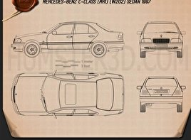Mercedes-Benz C-Class (W202) sedan 1997 Blueprint
