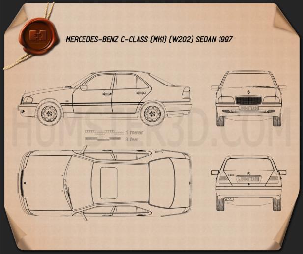 Mercedes-Benz C-Class (W202) sedan 1997 Blueprint