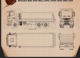 Mercedes-Benz Axor Tipper Truck 2005 Blueprint