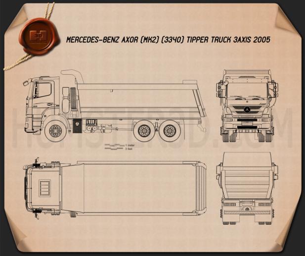 Mercedes-Benz Axor Tipper Truck 2005 Blueprint