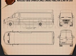 Mercedes-Benz Sprinter Panel Van ELWB HR 2013 Blueprint
