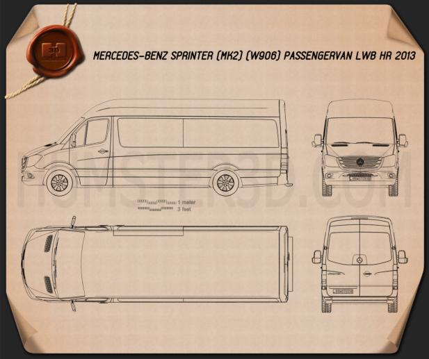 Mercedes-Benz Sprinter Passenger Van LWB HR 2013 Blueprint