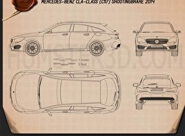 Mercedes-Benz CLA-Class (C117) Shooting Brake 2014 Blueprint