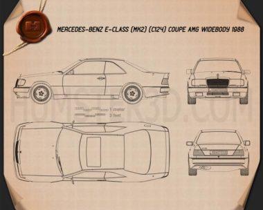 Mercedes-Benz E-class AMG widebody coupe 1988 Blueprint