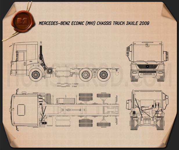 Mercedes-Benz Econic Chassis Truck 2009 Blueprint