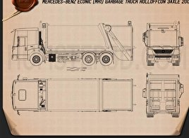 Mercedes Benz Econic Garbage Truck Blueprint